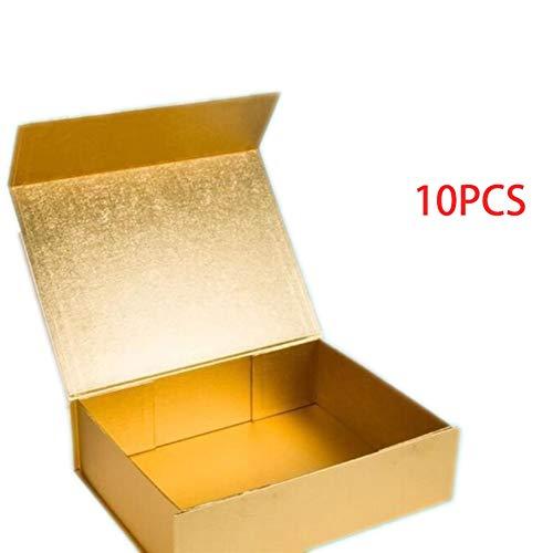 10 Stück Pappkarton-Geschenk-Verschluss, 32 x 24 x 9 cm, Heimdekoration (Farbe: Gold)
