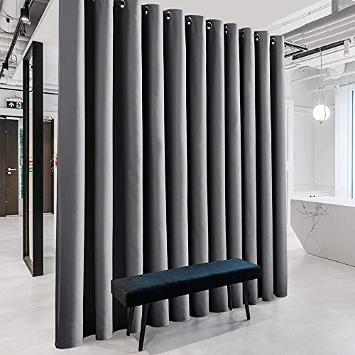 RYB HOME Extra Wide Curtain - Blackout Room Divider Curtains Portable Energy Saving Privacy Divider Shades for Patio Door Hallway Office Apartment Home Theater Doorway,1 Pc, Grey, W 20ft x L 9ft
