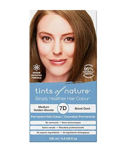 Tints of Nature 7D Medium Golden Blonde, Vegan Permanent Hair Dye, 95% Natural, Free from Ammonia, Parabens, and Propylene Glycol, Single