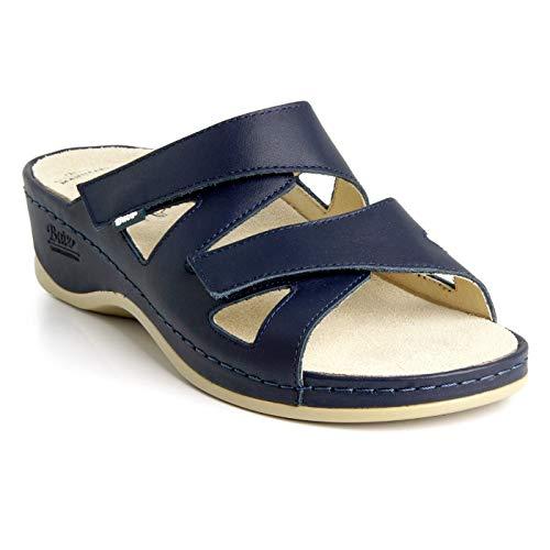 Batz Evelin Sandalias Zuecos Zapatos de Cuero para Mujer, Azul, EU 38