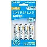 TOSHIBA 充電式IMPULSE 急速充電器セット 単3形・単4形兼用モデル 単3形充電池(min.1,900mAh)4本付き TNHC-34MESM