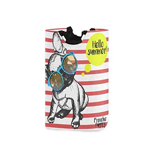 Cesto de ropa sucia Girly Strong Popular Bulldog francés Cesto para lavandería Cesto de lavandería grande 11 X 12,6 X 22,7 pulgadas Tela Oxford plegable Organizador de juguetes para ropa sucia con asa