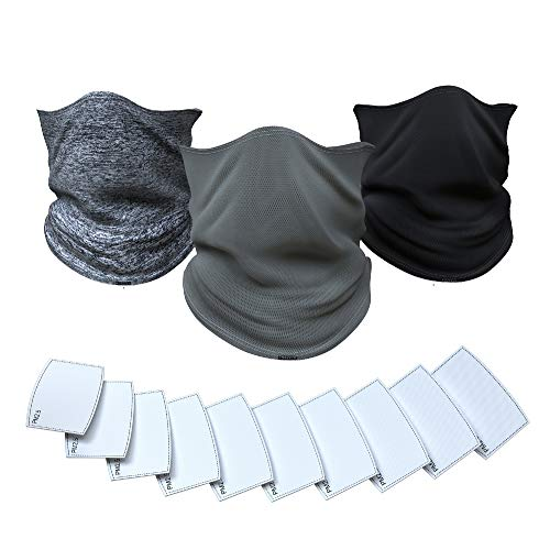 Neck & Face Mask Gaiter with Carbon Filter and Drawstring (Pack of 3 Gaiters + 10 Carbon Filters) Gaiters for Men & Women - Double Layer Washable Masks for Protection Cover from Particles by Koparco