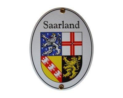 Saarland Emaille Schild Saarland 11,5 x 15 cm Emailschild Oval.