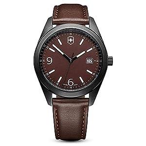 Victorinox Reloj Cuarzo 40mm Correa de Cuero Caja de Acero dial Negro 26076.CB