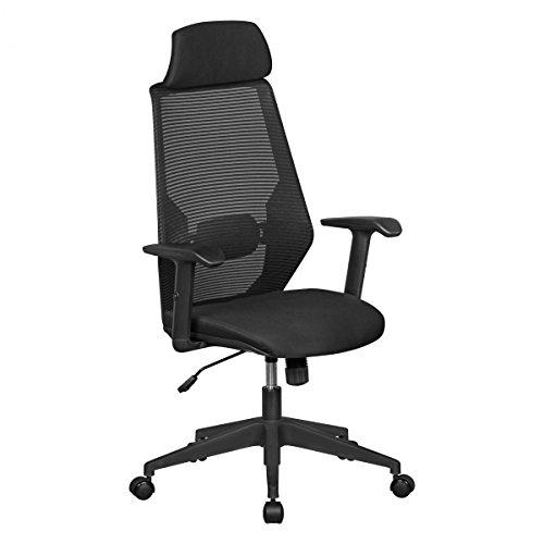 KADIMA DESIGN NetStar | Siège Chaise de Bureau en Tissu Noir | Chaise de Bureau avec Dossier | Hauteur de la Chaise pivotante réglable