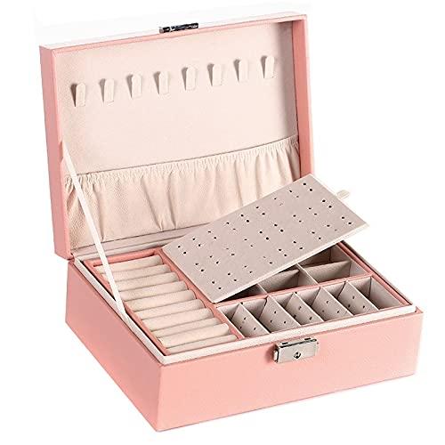 FACHA Joyero unisex de doble capa de terciopelo de gran capacidad, de piel sintética, caja de almacenamiento para joyas, caja de regalo (color: rosa, tamaño: 23 x 17 x 9 cm)
