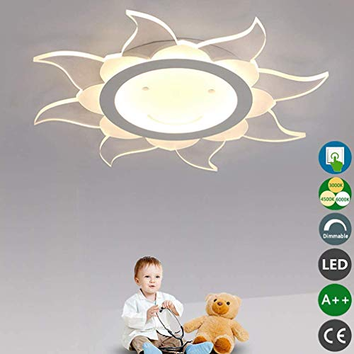 WETERS LED-Deckenleuchte Mädchen Jungen Schlafzimmer Deckenleuchte Dimmbar Wand Auf Moderne Sonnen Design Kinder-Lampe Ultra-Dünnen Acryl-Wandleuchte