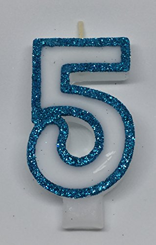 Wasiwax No (5) Birthday Candle - Frozen Blue Glitter - Browse Our Store and Choose Other Numbers
