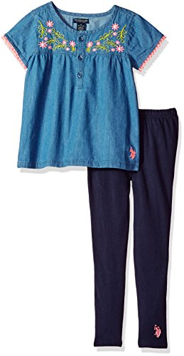 U.S. Polo Assn. Girls' Little Fashion Top and Legging Set, Button Placket and Rose Embro Peacoat, 4