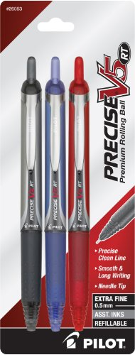 Pilot Precise V5 RT Retractable Rolling Ball Pens, Extra Fine Point (.5mm), 3-Pack, Black/Blue/Red Inks (26053), Premium Comfort Grip, Patented Precision Point Technology for Skip-Free Lines