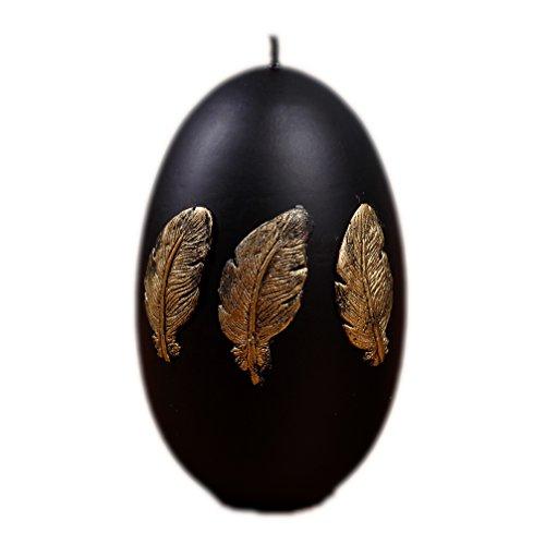Kerze Osterei Deko Osterkerze 4589 großes Ei schwarz Feder Gold 80/120