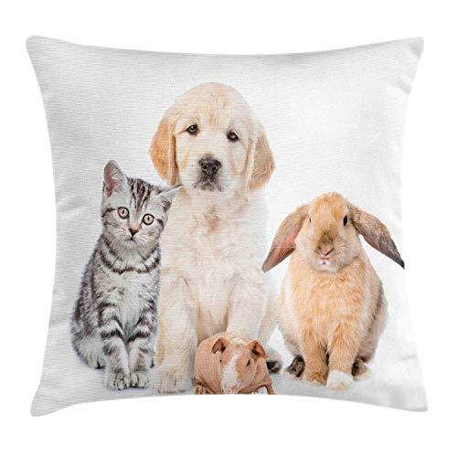 ABAKUHAUS Hond en kat Sierkussensloop, Bunny Piglet Staring, Decoratieve Vierkante Hoes voor Accent Kussen, 40 cm x 40 cm, Pale Peach Taupe
