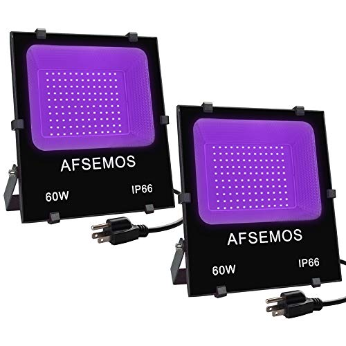 Black Light,60W LED Blacklights Flood Light with Plug, IP66 for Blacklight Parties Indoor and Outdoor, Halloween Decoration,Stage Lighting,Fluorescent Effect,Body Paint,Glow in The Dark(2 Pack)