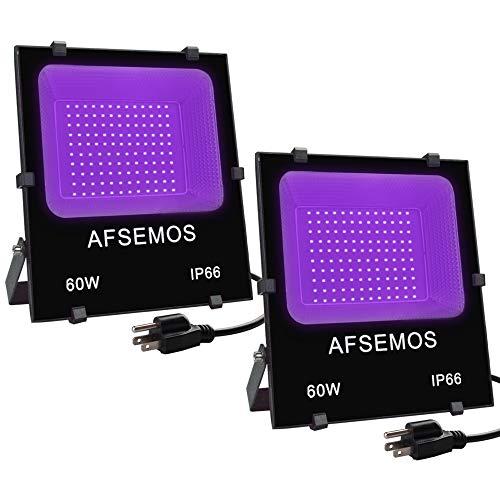 AFSEMOS - Foco de luz UV LED de 60 W con enchufe, 2 unidades, lámpara UV impermeable IP66 para fiestas de neón, luces de discoteca, pintura corporal, curado, brilla en la oscuridad