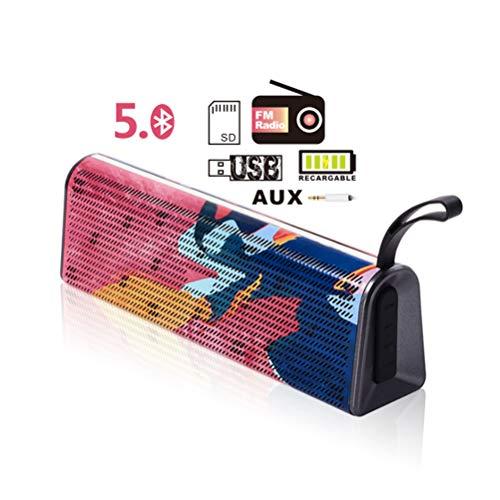 Altavoz Bluetooth 5.0 USB, Altavoz Portátil Inalámbrico, Sonido Estéreo Claro para USB/FM Radio/SD/AUX,Construido en Micrófono, Autonomía de 24h para Camping,Viajes,Playa,Ducha,Aire Libre