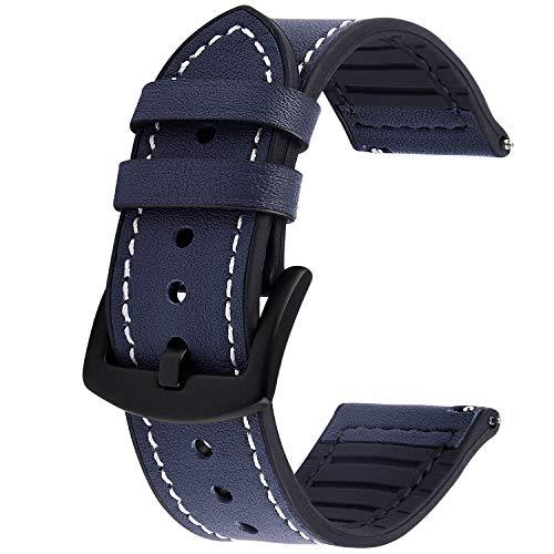 GerbGorb Silikon Leder Uhrarmband 20mm 22mm, 5 Farben Schnellverschluss Leder Uhr Armbänder für Männer und Frauen, Dunkelblau/22MM