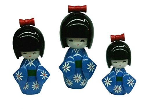 Poupee Kokeshi Bleue, Poupee Japonaise (Lot DE 3) - HT 12.5-10.7 et 8.7 cm