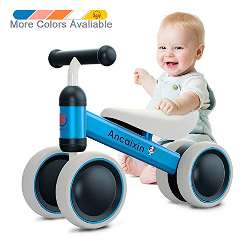 Ancaixin Baby Balance Bikes 10-24 Month Children Walker | Toys for 1 Year Old Boys Girls | No Pedal Infant 4 Wheels Toddler Bicycle | Best First Birthday New Year Holiday Blue