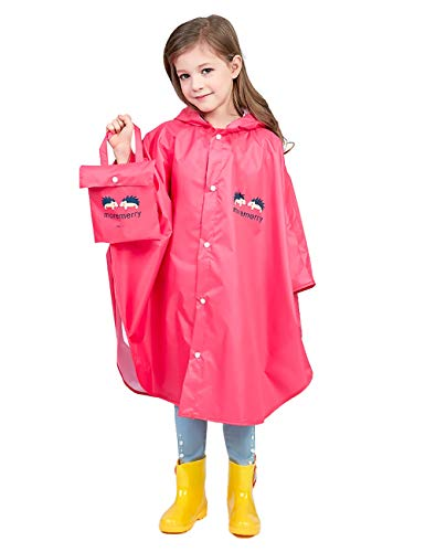Hibety Kids Raincoat Kids Rain Poncho Lightweight Waterproof Rain Jacket Coat with Hooded for Girls Boys,Portable Poncho rain coats(Red01, XL)