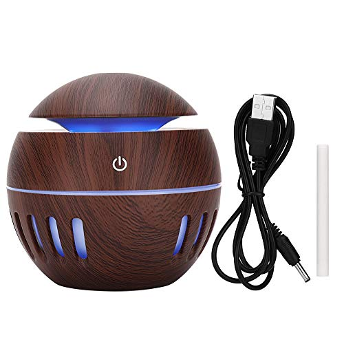 Öl Diffusor, 130ml USB Holzmaserung Diffusor Ultraschall Aroma Diffusoren Mit 7 Bunten LED Display Luft Diffusor Schreibtisch Luftbefeuchter Schlafzimmer Luftbefeuchter Tragbarer Diffusor