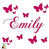 Wandschnörkel ® AC227 Wandtattoo Wandaufkleber mit dem Namen ihres Kindes personalisiert Wunschnamen + 13 Schmetterlingen 60 & 120 Spruch Kinderzimmer Mädchen Junge viele Farben