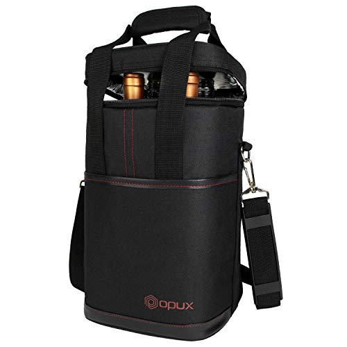 OPUX Weinkühltasche für 4 Flaschen | Weinflaschenhalter für Reisen | Weintasche mit verstellbarem Schultergurt und gepolstertem Schutz (schwarz)