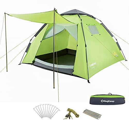 KingCamp Monza Easy Up 3 Personen Kuppelzelt mit Vordach für Camping Wandern Festivals(Green)