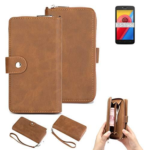 K-S-Trade Handy-Schutz-Hülle Kompatibel Mit Lenovo Moto C LTE Portemonnee Tasche Wallet-Hülle Bookstyle-Etui Braun (1x)