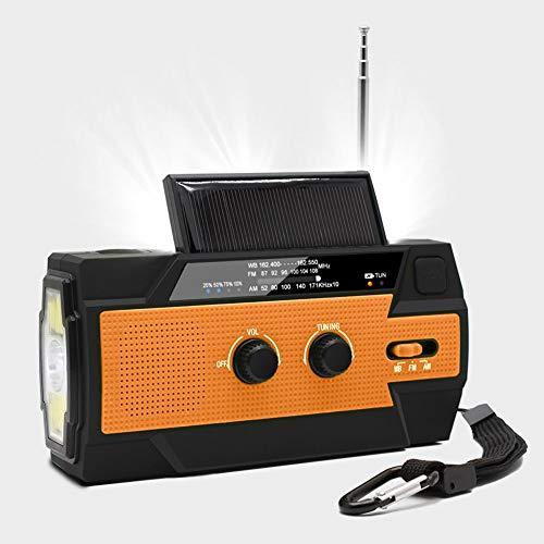 Chargeur De Téléphone Portable De Lampe De Poche Radio À Manivelle d'urgence, 4000Mah avec Lampe De Poche 1W Et Capteur De Mouvement, Alarme SOS pour La Maison Et Les Urgences,Orange
