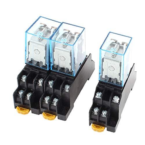 X-DREE 3 Pcs DC 12V 5A Coil 35mm DIN Rail DPDT 8Pin Power Relay + Socket Base(3 piezas DC 12V 5A Bobina 35 mm Carril DIN DPDT 8Pin Relé de potencia + Base del zócalo