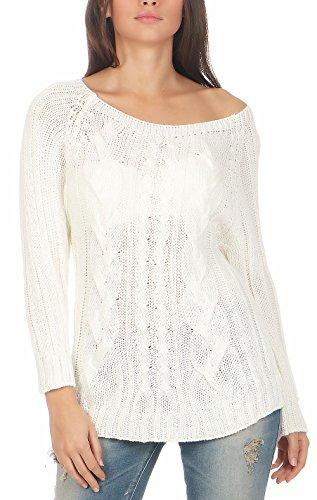 Malito Damen Pullover mit Zopfmuster | Longsleeve in Grobstrick | Strickpullover aus Wolle - Rundhals - Oberteil - 7319 (weiß)
