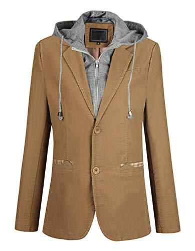 Itemnew Man's Stylish Detachable Hooded Slim 2 Button Casual Blazer Jacket (Large, Khaki)