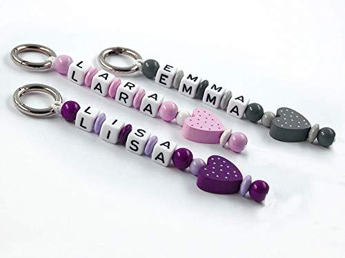 Schlüsselanhänger mit Namen - handmade - Kinder - Erwachsene - Taschenbaumler - Herz- Schlüsselring - Mädchen - Jungen - Schlüsselanhänger mit Gravur verschiedene Farben