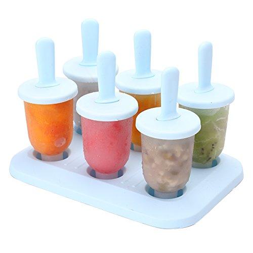 MOMOLAND 6-teiliges Eiscreme-Formen – Eis am Stiel – Eis am Stiel / Eis / Lutscher Maker Werkzeug-Set – Mini
