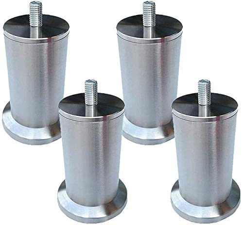 JYV 4pcs Furniture Legs Stainless Steel Metal Table Legs Furniture Feet Round Replacement Furniture Risers Couch Legs Sofa Desk Legs Bed Cabinets Risers M8 Screw Furniture legs (Size : 17.5cm)