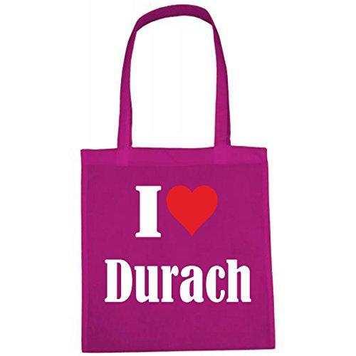 Tasche I Love Durach Größe 38x42 Farbe Pink Druck Weiss