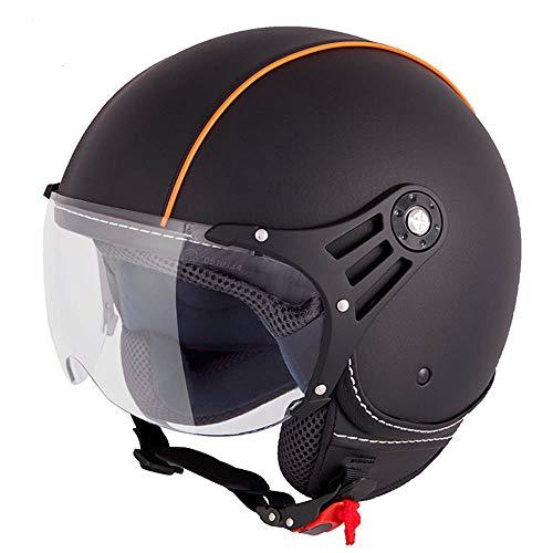 Casco jet para moto de Vinz en negro y naranja, de cuero, en tallas XSa XL, con visera y certificado ECE
