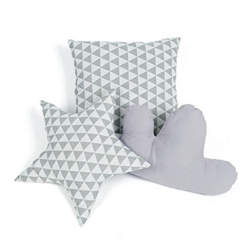 GIGALUMI Cushion Set for Teepee Tent Grey Decoration Pillow in the Shape of Star Cloud and Square for kids room