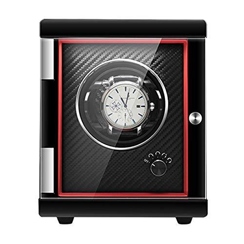 LWZ Luxus-Automatik-Uhrenbeweger-Aufbewahrungsbox, Einzeluhr-Rotatorbox, verstellbare Uhrenkissen, Holzschalen-Klavierfarbe außen