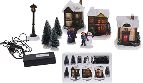 Spetebo Weihnachtsdorf mit LED Beleuchtung - 10 Teile - Winterdorf beleuchtet & Batterie betrieben - Weihnachtsstadt Tischdeko