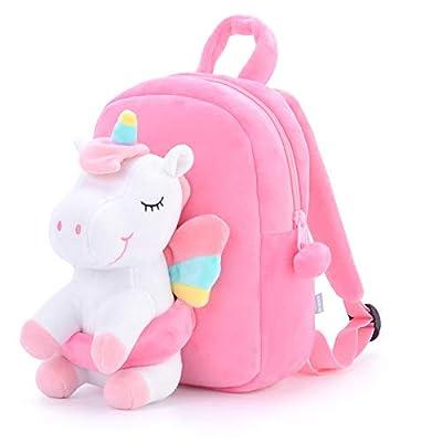 Gloveleya Unicornio Mochila para niños Mochilas de Unicornio Regalo de bebé Equipaje de bebé Uso de Viaje de Regreso a la Escuela - muñeca Unicornio Blanco