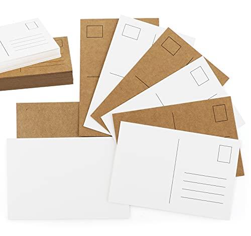 Mocraft 120 Blanko Postkarten Kraftpapier & weiß, A6 Papier Karten Leere Grußkarte zum DIY Basteln Graffiti Nachricht, 10x15cm