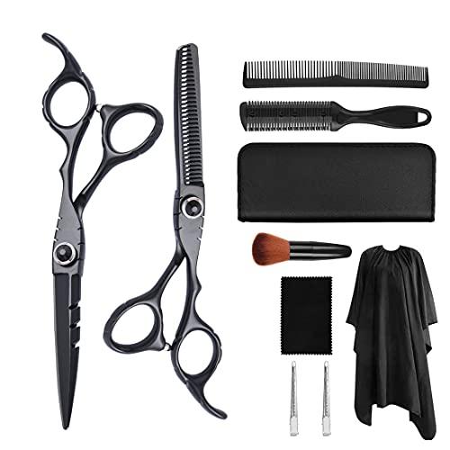 XJST 10 PCS Tijeras de Corte de Cabello, Tijeras de Corte de Cabello Profesional y Tijeras de Adelgazamiento de peluquería, para barbero, salón, hogar, luz y Afilado