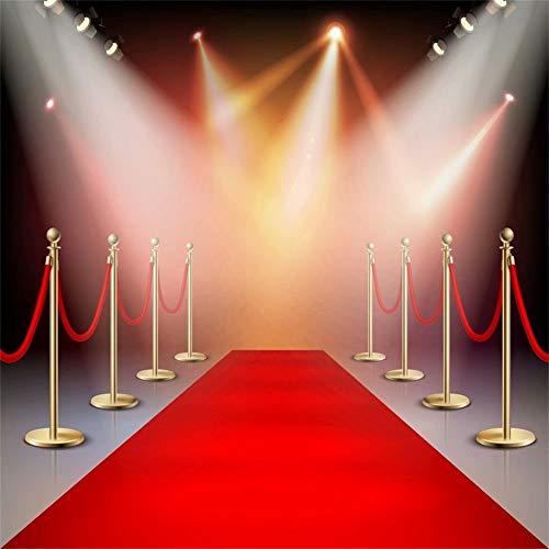 Cassisy 2,5x2,5m Vinyl Fotohintergrund Bühnenhintergrund Roter Teppich Hintergrund Bühnenbeleuchtung Hollywood Hochzeit Fotoleinwand Hintergrund für Fotoshoot Fotostudio Requisiten Party Photo Booth