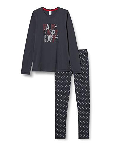 Sanetta Mädchen Schlafanzug Moon Grey Anthrazitfarbener Pyjama stimmungsvollen Happy Schriftzug, grau, 128