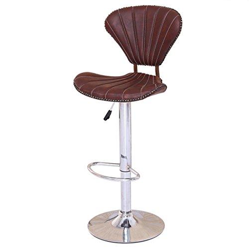 Barhocker Hocker Gaslift Hochstuhl mit Rückenlehne Continental Vintage Lounge Stuhl Esszimmerstuhl Empfangstuhl Rotbrauner Shell Hocker mit Fußstütze und verchromtem Gestell