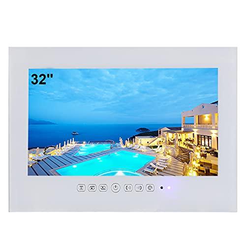 Soulaca Smart TV a Bianca da 32 Pollici per Bagno IP66 Impermeabile Android 10.0 con Wi-Fi e Altoparlanti Integrati
