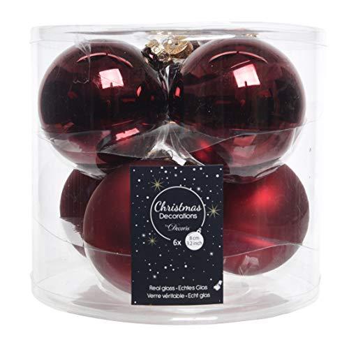 Palla di Natale in Vetro, Rosso Bordeaux, 8 cm