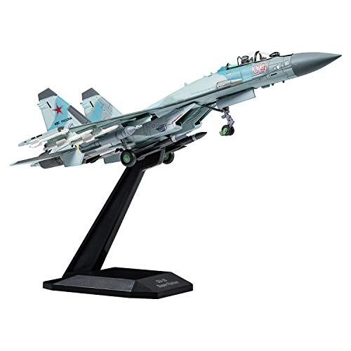 HANGHANG 1/100 Scale SU-35 Attack Plane Metal Fighter Military Model Fairchild Republic Diecast Plane Model for Gifts Blue